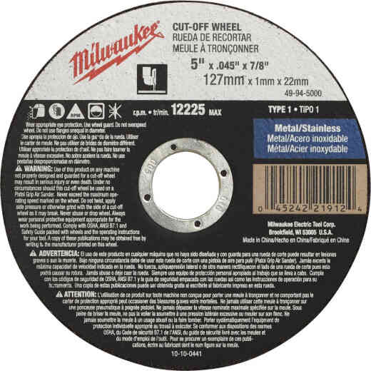 Milwaukee Type 1 5 In. x 0.045 In. x 7/8 In. Metal/Stainless Cut-Off Wheel