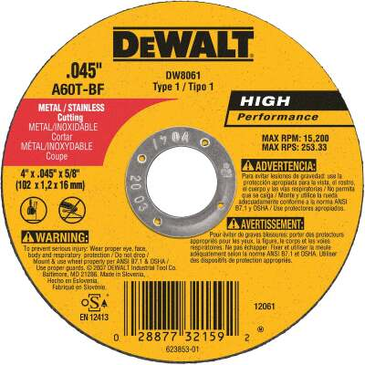 DeWalt HP Type 1 4 In. x 0.045 In. x 5/8 In. Metal/Stainless Cut-Off Wheel