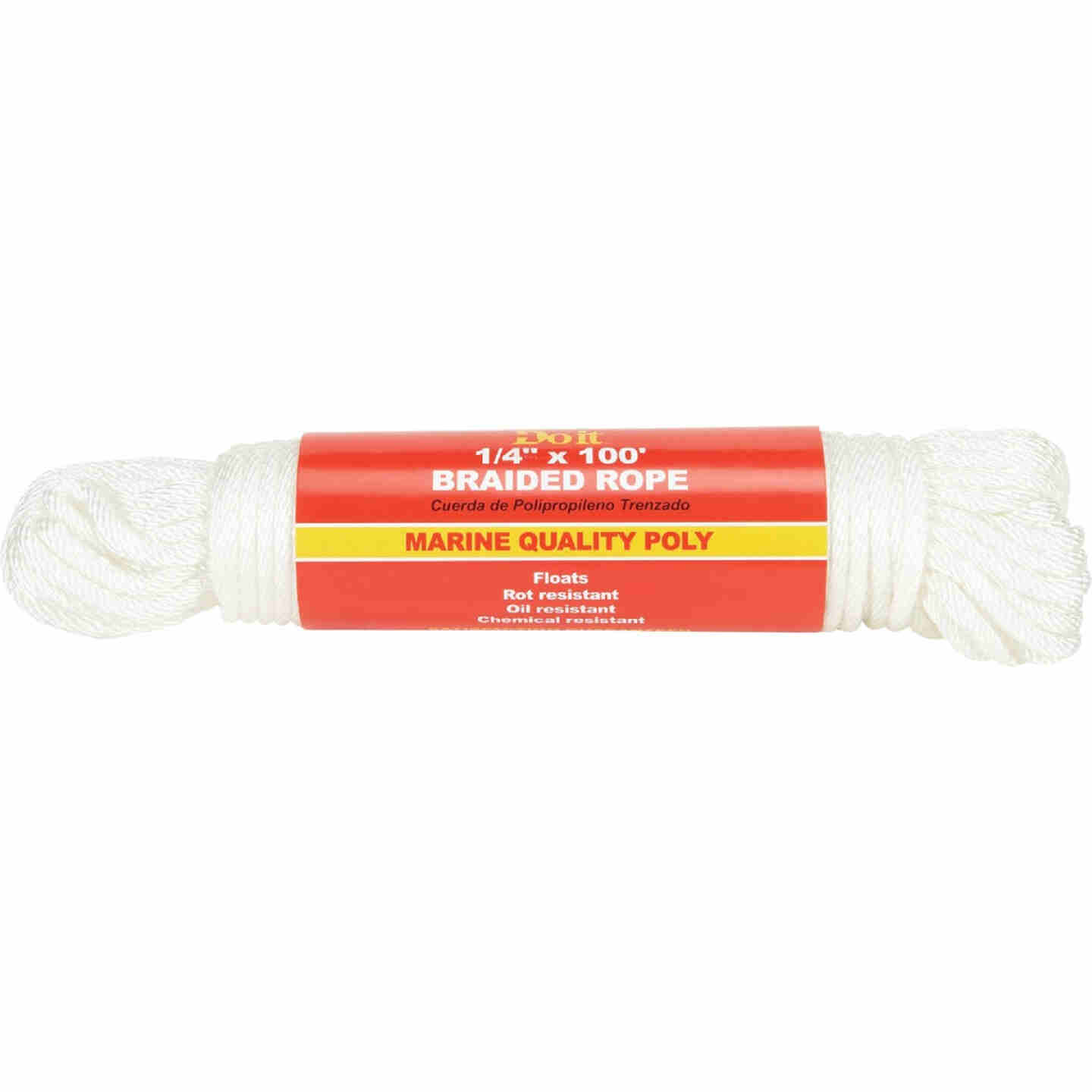Do it 1/4 In. x 100 Ft. White Solid Braided Polypropylene Packaged Rope Image 1